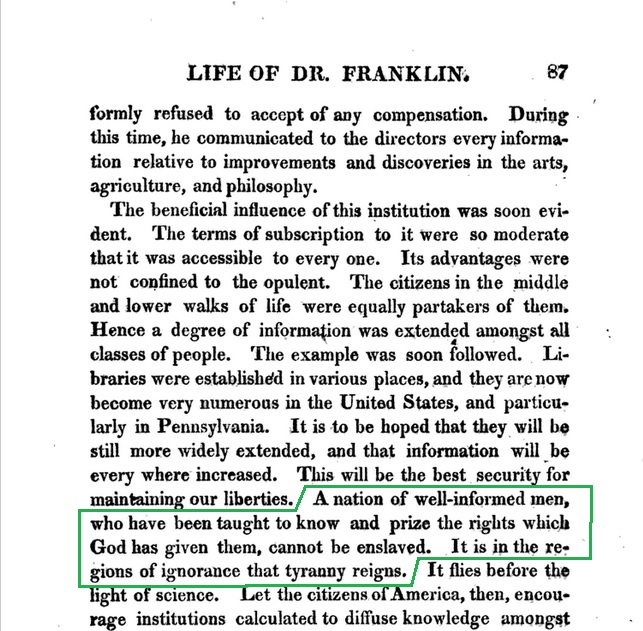 Page 87 of Stuber and Vaughans 1800 Life of Dr. Franklin, from Google Books