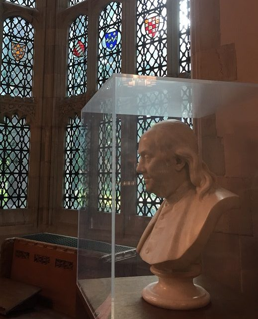 Franklin Bust in Sterling Memorial Library Reading Room.